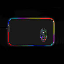 Килимок для мишки SKY (FG-L) Black RGB підсвічування 35x60 см
