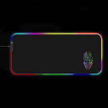 Килимок для мишки SKY (FG-XXL) Black RGB підсвічування 40x90 см