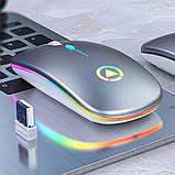 Мышь беспроводная SKY (A2) Silver, аккумулятор, RGB, фото 2