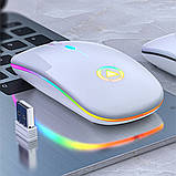 Мышь беспроводная SKY (A2-BT) White, аккумулятор, Bluetooth, RGB, фото 3