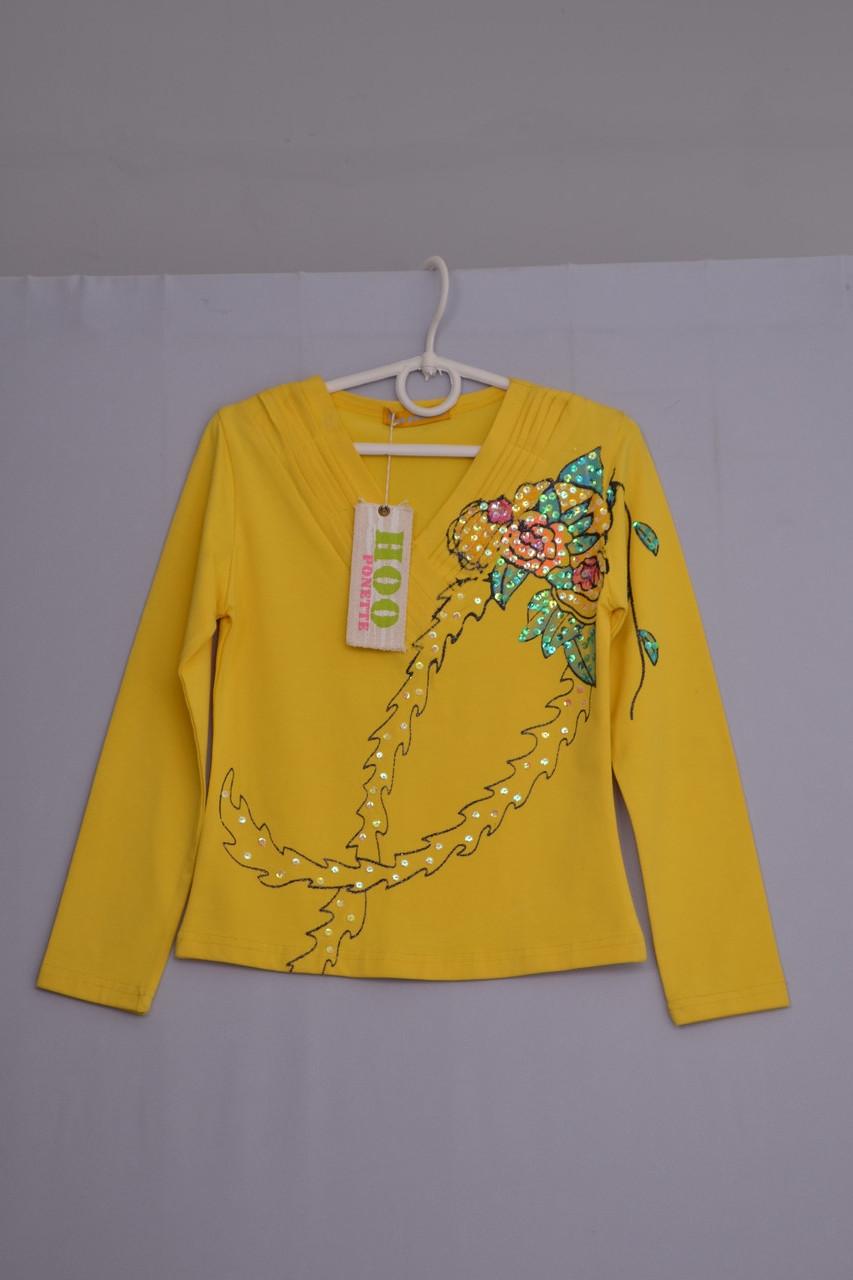 Л-349 худи, батник, детский реглан (лонгслив) для девочки размер 122 134 140 желтый