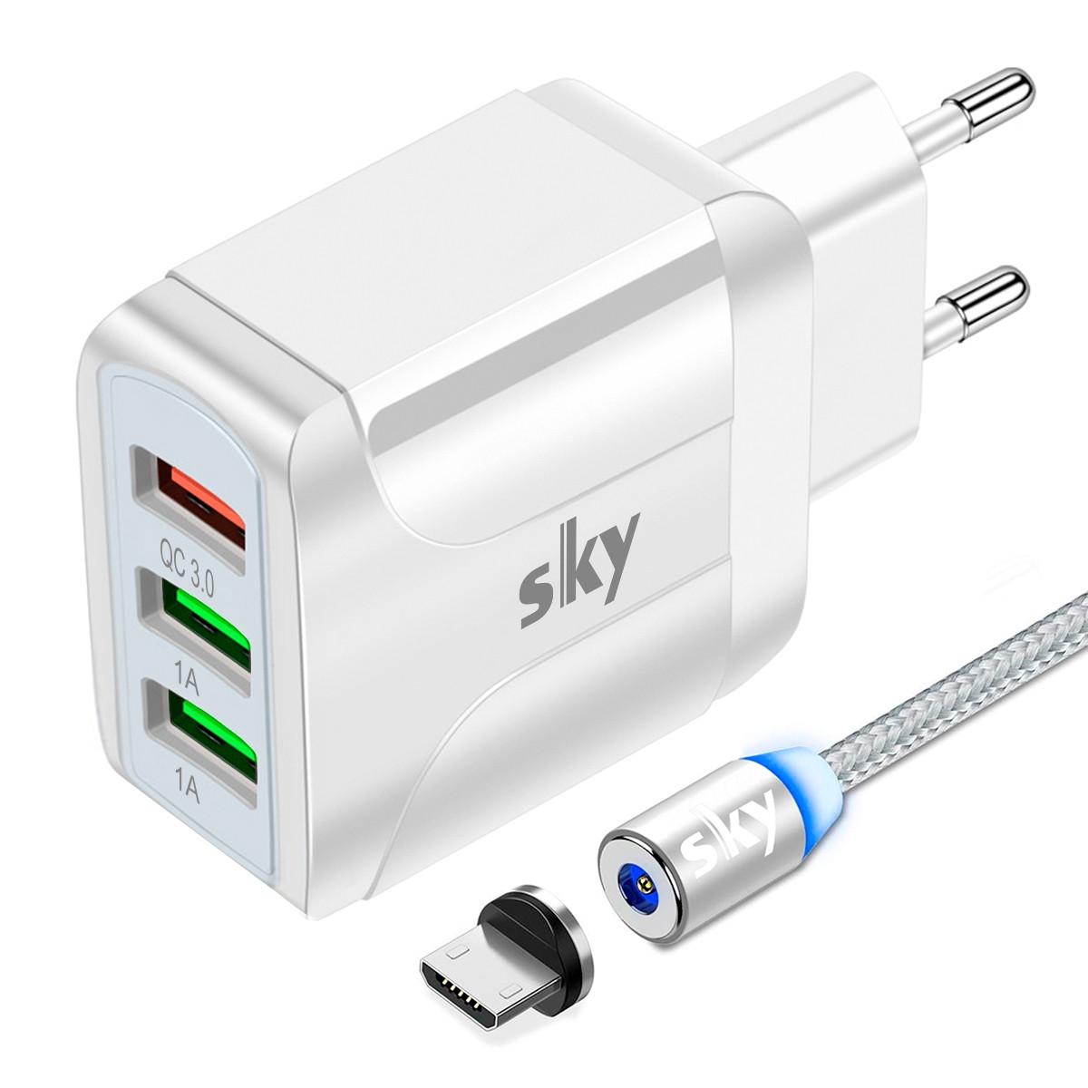 Зарядний пристрій SKY (A 02) QC / 2USB (20W) White