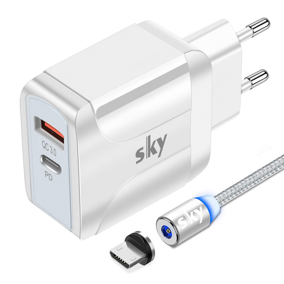 Зарядний пристрій SKY (A 04) QC / PD (18W) White