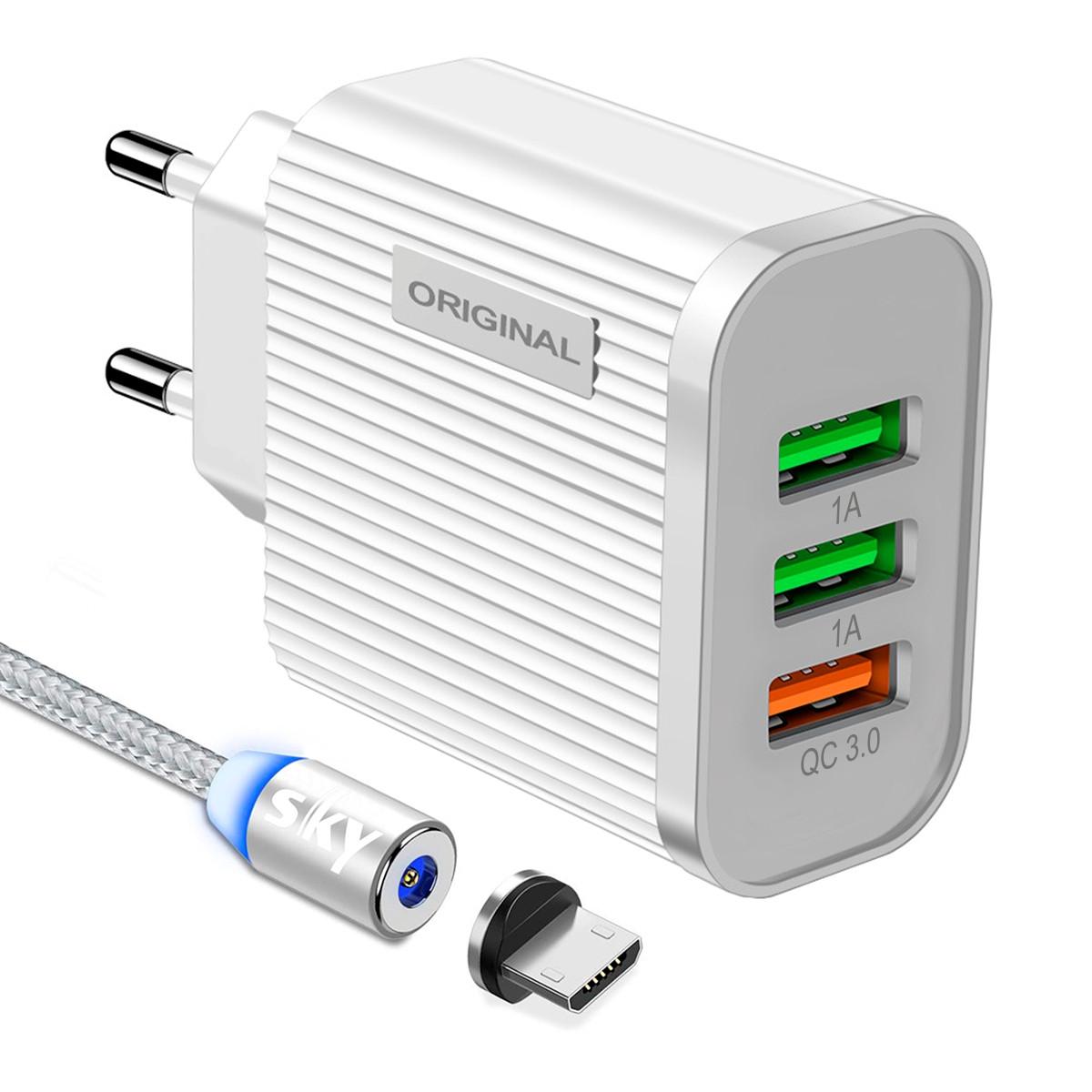 Зарядний пристрій SKY (D 02) QC / 2USB (20W) White