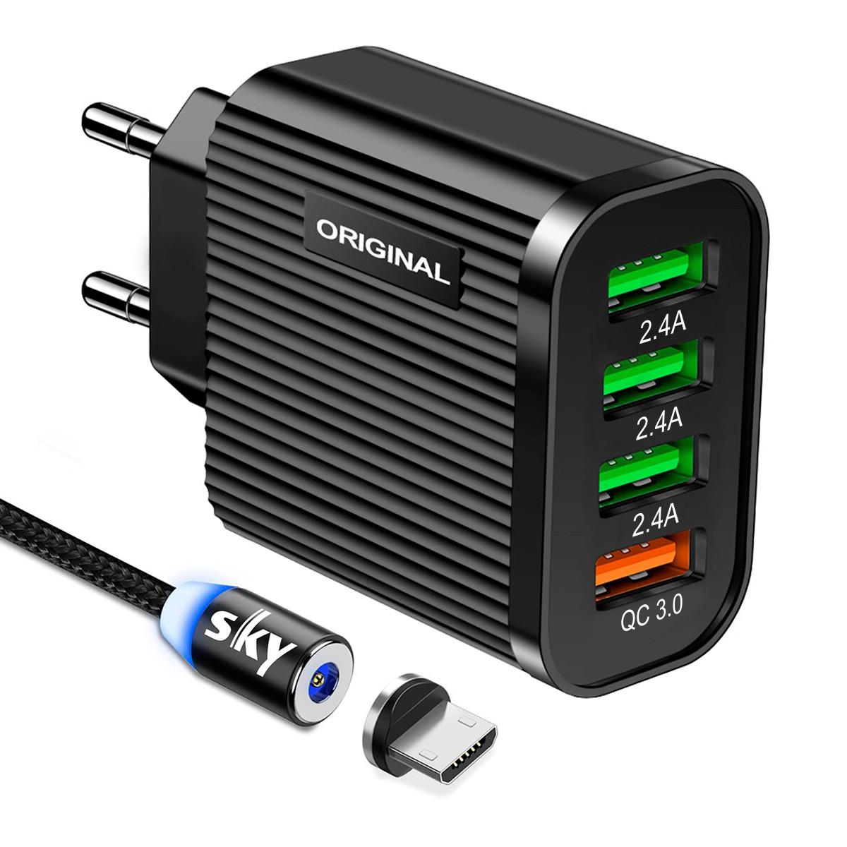 Зарядное устройство SKY (D 03) QC / 3USB (26W) Black