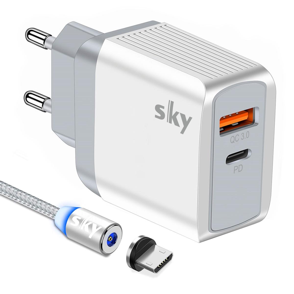Зарядний пристрій SKY (E 04) QC / PD (19W) White