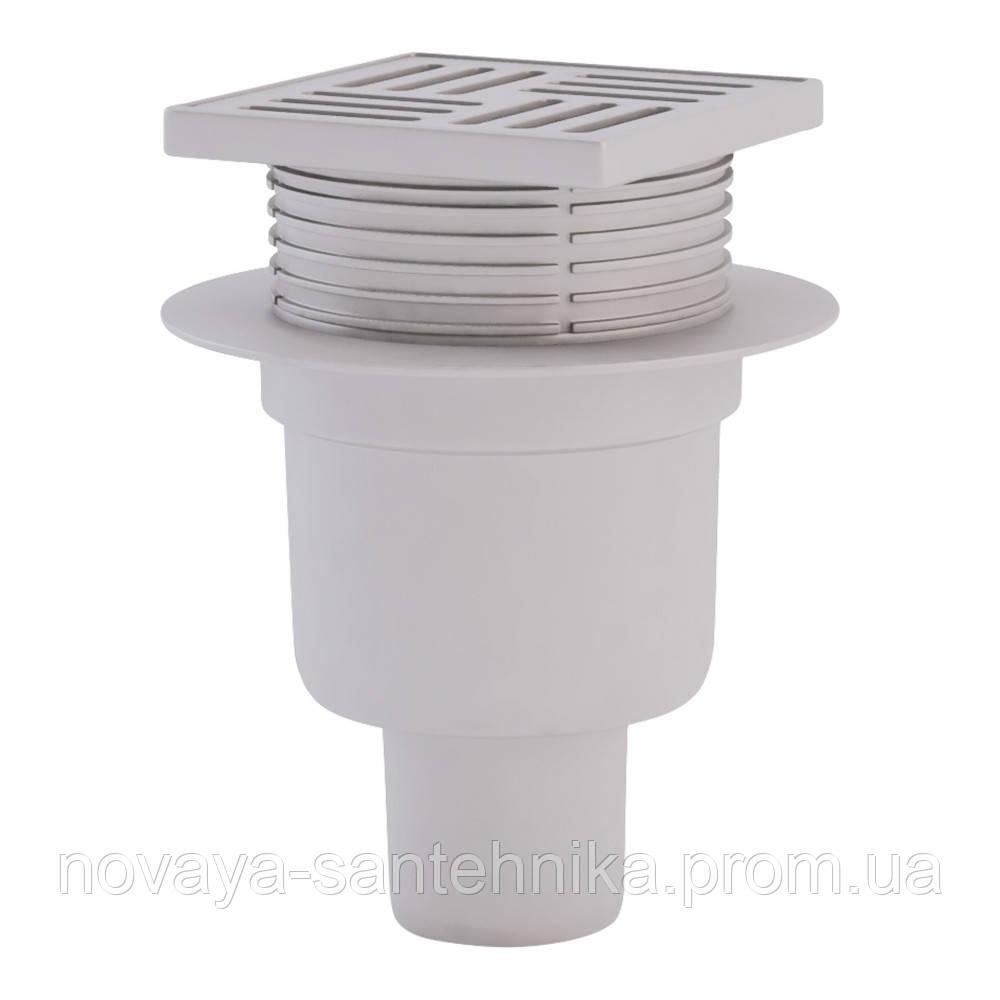 Трап ANI Plast TA5704 вертикальный с пластиковой решеткой 100х100