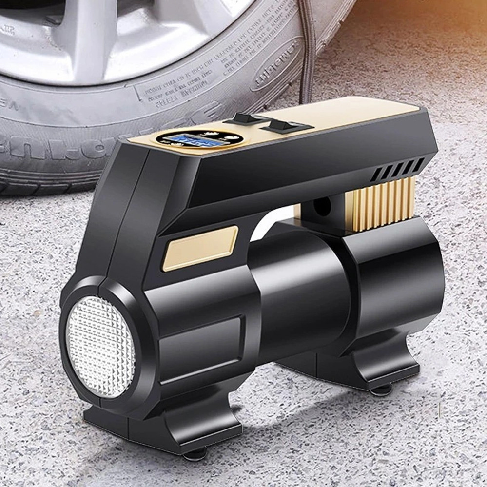 Автомобільний повітряний насос бездротовий для підкачки шин компресор AIKESI LB-70 з цифровим дисплеєм ліхтарем
