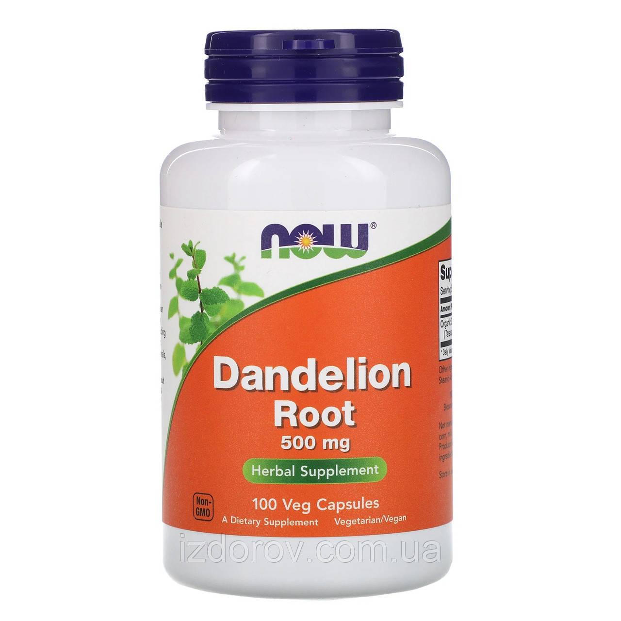 Now Foods, Корень одуванчика, 500 мг, Dandelion Root, 100 вегетарианских капсул