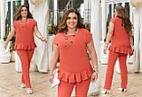 Жіночий легкий літній костюм блузка штани штапель розмір батальний: 50-52, 54-56, 58-60, 62-64, фото 3