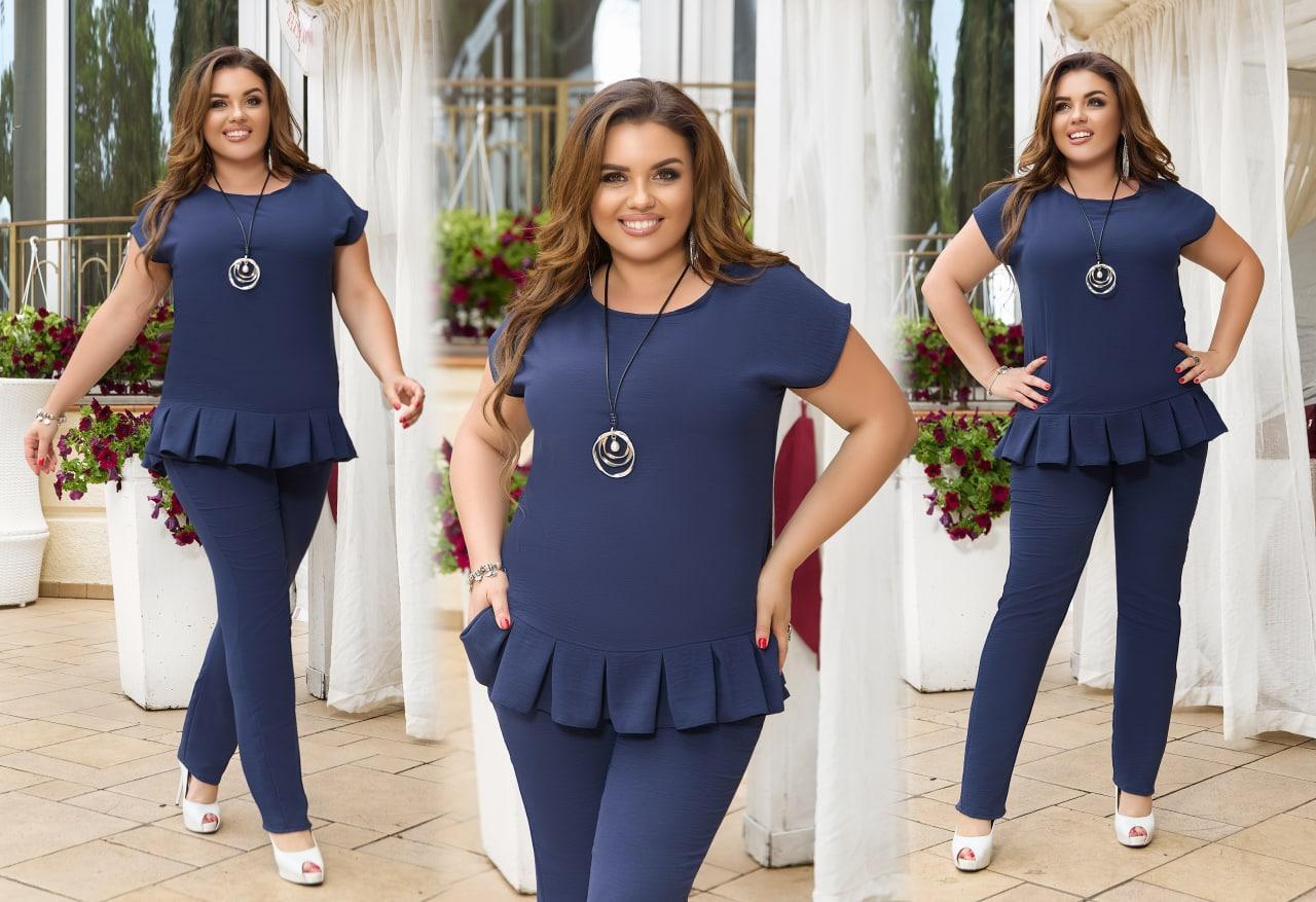 Жіночий легкий літній костюм блузка штани штапель розмір батальний: 50-52, 54-56, 58-60, 62-64