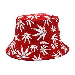 Панама червона (панамка з білими листям марихуани чоловіча жіноча)
