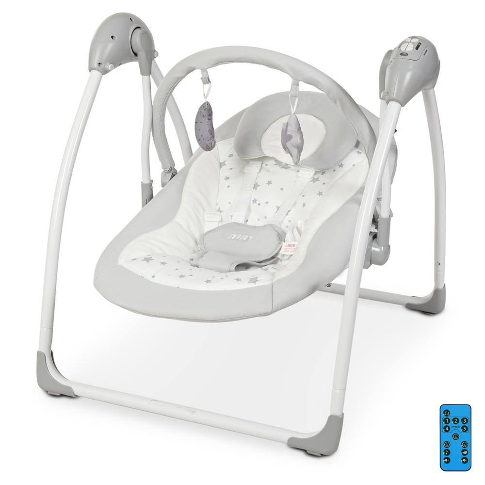 Дитяча гойдалка для новонароджених EL CAMINO ME 1047 AIRY Stars Gray