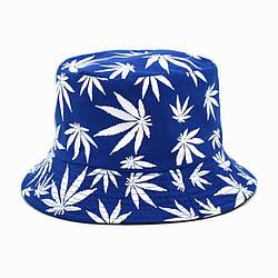 Панама синя (панамка з білими листям марихуани чоловіча жіноча)