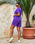 Спортивний костюм жіночий батал, турецький бавовна-спів, р-р 48-50; 52-54 (лаванда), фото 2