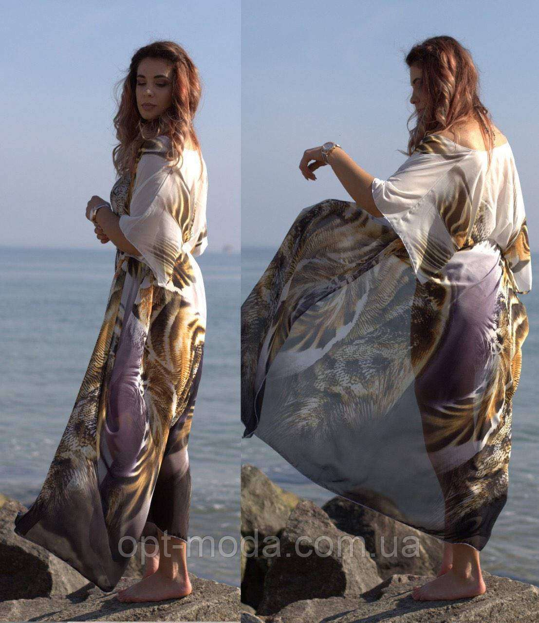 Жіноча пляжна парео з тигром великих розмірів, шифон принт, розмір 42-54, 56-64, блакитний