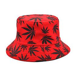 Панама червона (панамка з чорними листям марихуани чоловіча жіноча)