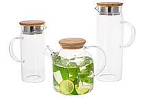 Скляний заварювальний чайник з бамбуковою кришкою, 1.5 л