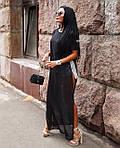 Женская накидка, мультишифон, р-р универсальный 42-46 (черный), фото 3