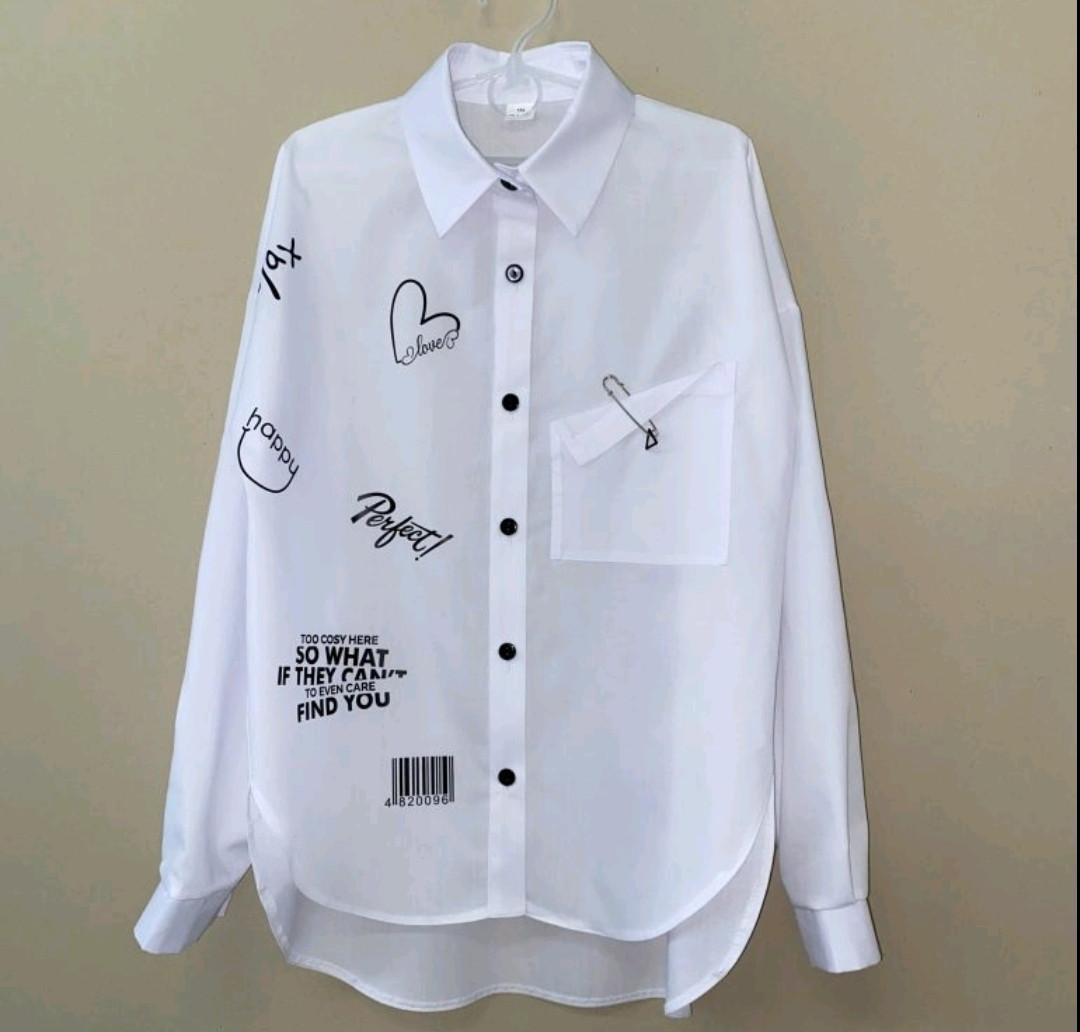 Блуза біла шкільна красива ошатна підліткова. Рукав - трансформер. Розміри 146.152.158.164.
