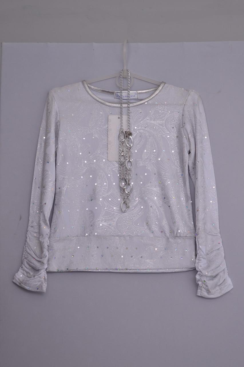 Л-343 блуза нарядная , блузон для девочки с длинным рукавом рост 116 122 128