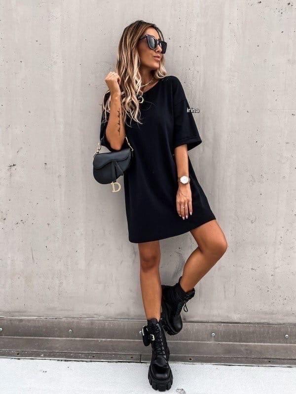 Женское платье, турецкая двухнитка, р-р С-М; Л-ХЛ (черный)