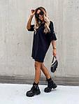 Женское платье, турецкая двухнитка, р-р С-М; Л-ХЛ (черный), фото 2