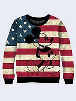 Cвитшот Микки флаг Америки; XXS, XS, S, M, L, XL, фото 1