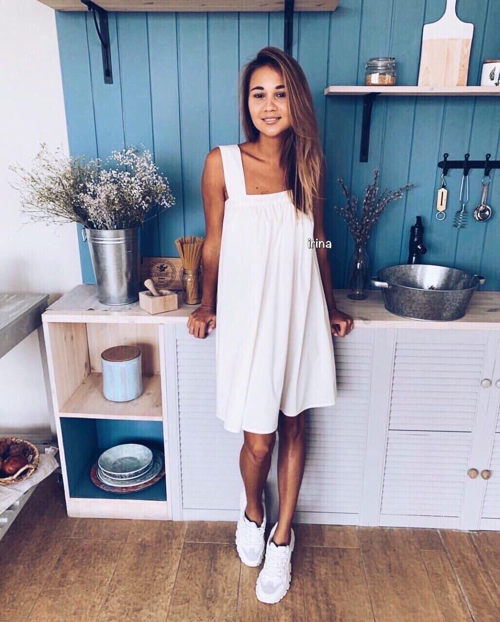 Женское платье, суперсофт, р-р универсальный 42-46 (белый)