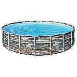 Круглый семейный каркасный бассейн Bestway 56883 (610х132 см) с лестницей фильтр насосом и тентом, фото 7