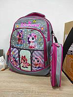 Ортопедичний рюкзак з пеналом для дівчинки з принтом поні 39*28*16 см, фото 1
