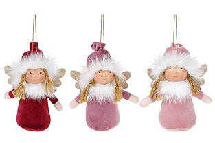 М'яка іграшка на підвісі Янголята в дисплей-коробці, 15см, 3 види, колір - бордовий, бузковий, рожевий BonaDi