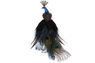 Декоративний Павич на кліпсі 25см, колір - насичений синій BonaDi 499-071