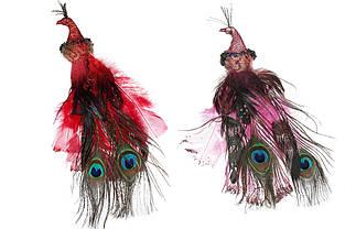 Декоративна птиця з кліпсою Павич, 27см, 2 види - червоний і рожевий BonaDi 743-357