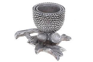 Декоративний свічник Жолудь зі скляною колбою, 12см, колір - срібло BonaDi 447-332