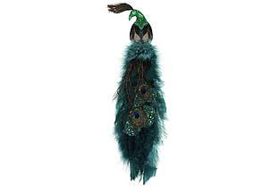 Декоративний Павич на кліпсі 40см, колір - смарагдовий зелений BonaDi 499-054