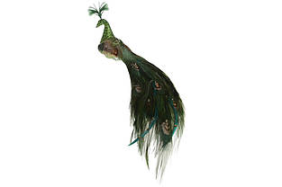 Декоративний Павич на кліпсі 27см, колір глибокий зелений BonaDi 499-052