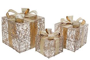 Набор декоративных подарков (3шт) с подсветкой (2 режима - с функцией мигания и без), 15см, 20см, 25см, цвет -