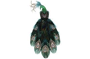 Декоративний Павич на кліпсі 32см, колір - смарагдовий зелений BonaDi 499-058