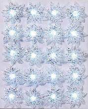 Гирлянда 2м, 20 LED (прозрачные белые),постоянное свечение, с украшением Астра (2,5*6см) BonaDi 770-249