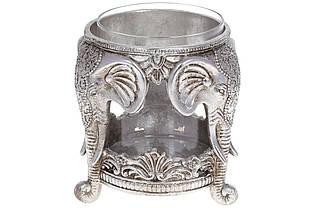 Підсвічник Слони зі скляною колбою, 15см, колір - срібло BonaDi 450-913