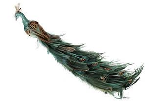 Декоративна птиця з кліпсою Павич, колір - зелений, 42см BonaDi 743-355