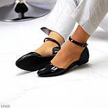 Босоніжки/ балетки жіночі чорні закриті з ремінцем еко лак, фото 7