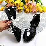 Босоніжки/ балетки жіночі чорні закриті з ремінцем еко лак, фото 10