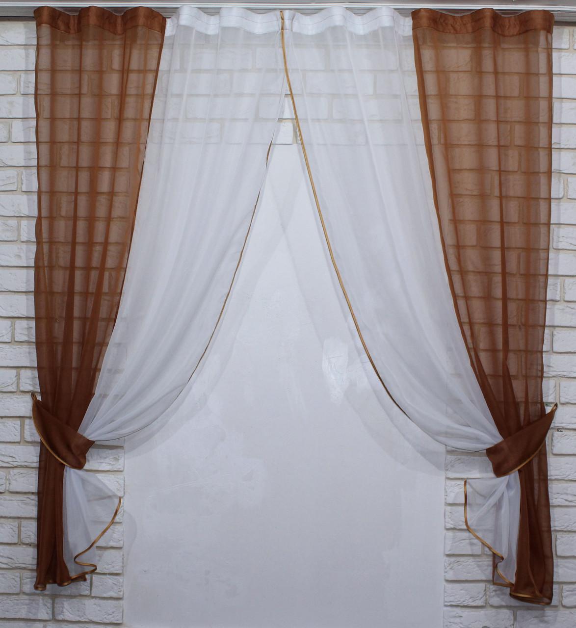 Кухонні шторки з підв'язками №17 Колір коричневий з білим 50-021