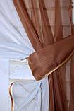 Кухонні шторки з підв'язками №17 Колір коричневий з білим 50-021, фото 4