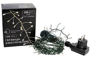Гирлянда-кластер 280 мини-LED, 1 линия, 2 метра, цвет лампочек - тёплый белый, цвет провода - зеленый,