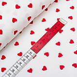 Ткань хлопок красные сердечки мелкие на белом, фото 2