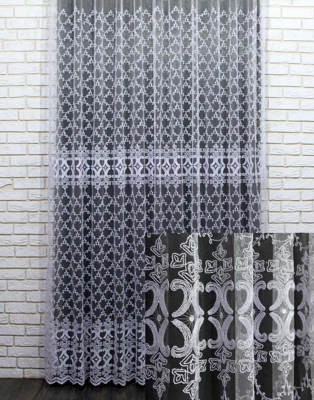 """Тюль (3х2,5м) фатин з вишивкою """"Преміум """", колір білий. Код 462т 40-113"""