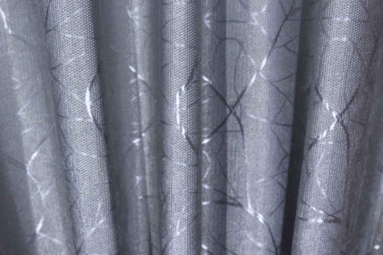 """Шторная ткань лён блэкаут рогожка, коллекция """"Саванна"""", высота 2,8м. Цвет серый. Код 635ш"""